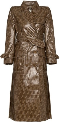 Fendi FF motif plastic-finish trench coat