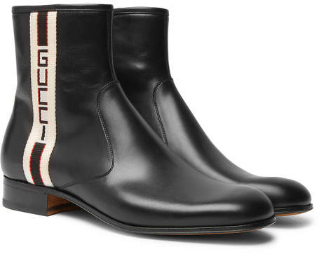 Gucci Bonny Webbing-Trimmed Leather Chelsea Boots