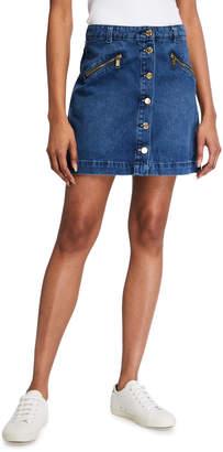 MICHAEL Michael Kors Button-Front Denim Mini Skirt