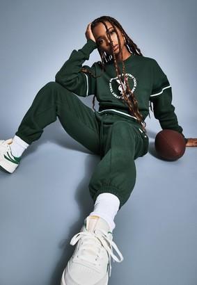 Missguided Playboy X Green Varsity Graphic Cropped Sweatshirt
