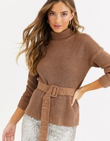 Fashion Union high neck fitted sweater with waist belt