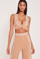 Missguided Carli Bybel Embroidered Plunge Crop Top Nude