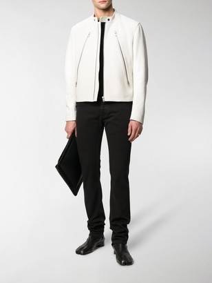 Maison Margiela Zip-Front Leather Jacket