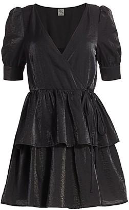 Baum und Pferdgarten Romance & Rituals Akima Velvet Puff-Sleeve A-Line Wrap Dress