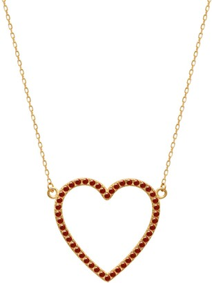 GABIRIELLE JEWELRY 22K Goldplated & Ruby-Colored Crystal Open Heart Pendant Necklace