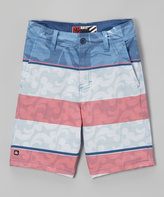Micros Navy & Red Stripe Floral Flo Board Shorts - Boys