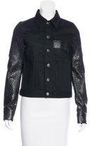 Givenchy Embossed Leather & Denim Jacket