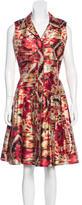 Oscar de la Renta Silk-Blend Abstract Print Dress