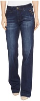 Jag Jeans Farrah Wide Leg Crosshatch Denim Jeans in Night Breeze