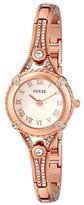 GUESS Women's U0135L3 Petite Rose Gold-Tone Watch with White Dial , Crystal-Accented Bezel and Stainless Steel G-Link Band