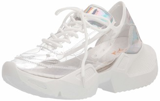 Yoki Women's Lace Up Lucite Clear Retro Chunky Sneaker