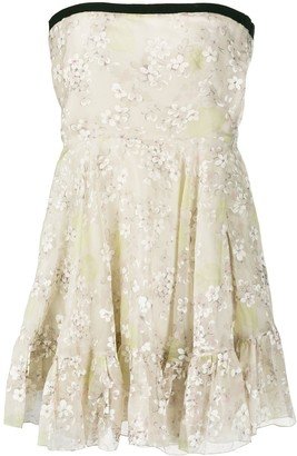 Valentino Pre Owned Floral Strapless Dress