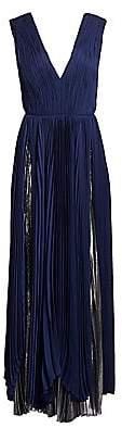 Burnett New York Women's Pleated Silk Chiffon Layered Gown