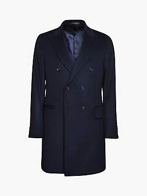 Sebastian Oscar Jacobson Double Breasted Wool Cashmere Overcoat, Navy