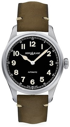 Montblanc 1858 Stainless Steel Leather Strap Automatic Watch