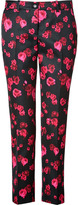 Michael Kors Cotton-Silk Pants in Rose/Black