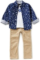 Nautica Little Boys 2T-4T Printed Woven Shirt, Solid Knit Tee & Woven Pant Set