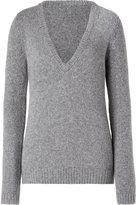 Heather Grey V-Neck Wool/Cashmere Blend Sweater