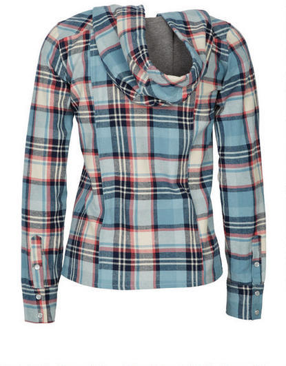 Delia's Hooded Plaid Flannel Shirt