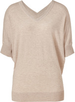 DKNY Almond Heather V-Neck Dolman Sleeve Knit Top