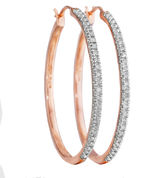 JCPenney FINE JEWELRY CT. T.W. Diamond 14K Rose Gold Over Sterling Silver Hoop Earrings