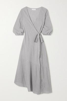 Apiece Apart Sierra Striped Organic Cotton Wrap Dress - Navy
