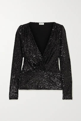 Saint Laurent Sequined Jersey Blouse - Black