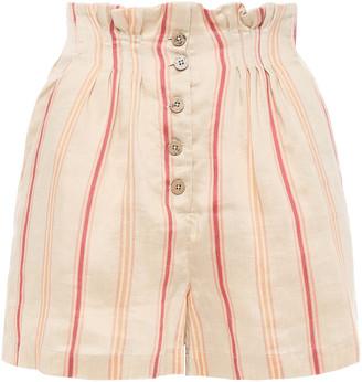 Joie Maeline Button-detailed Striped Linen-blend Shorts