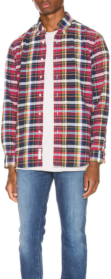 Polo Ralph Lauren Long Sleeve Oxford Shirt in Garnet & Aqua | FWRD