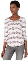 Lucky Brand 3/4 Sleeve Floral Stripe Scoop Neck Tee (Cream Multi) Women's T Shirt