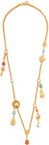 Ben-Amun Gold-tone beaded necklace