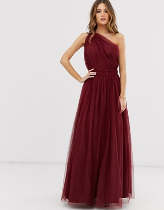 Asos Design DESIGN one shoulder tulle maxi dress-Red