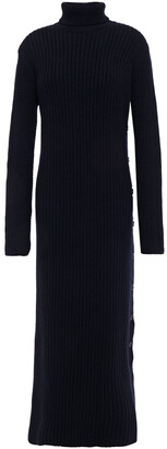 Marni Button-detailed Ribbed Wool Turtleneck Midi Dress