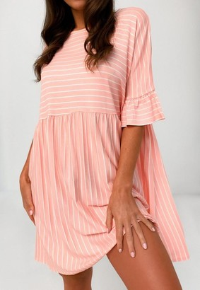 Missguided Pink Stripe Short Sleeve Smock Dress