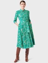 Hobbs Printed Shirt Dress - Green/Multi