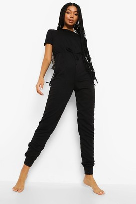 boohoo Loopback Short Sleeve Lounge Jumpsuit