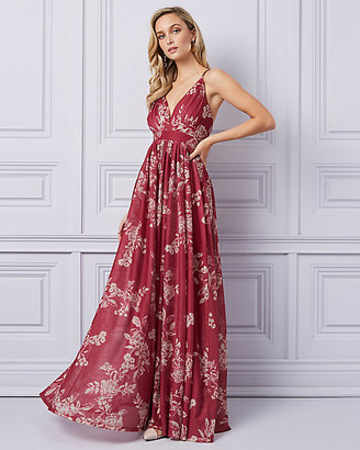 Le Château Floral Print Sheer Knit Deep-V Gown
