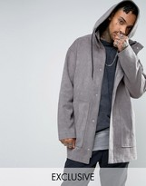 Mennace Textured Parka Coat In Grey
