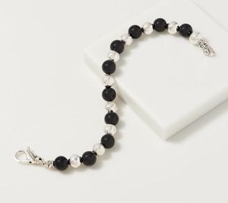 JAI Sterling Silver Hammered & Gemstone Bead Bracelet