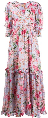 By Ti Mo V-Neck Floral Print Maxi Dress
