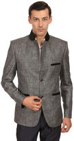 Wintage Men's Rayon Two Buttoned Grandad Festive Grey Bandhgala Blazer Coat