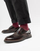 Silver Street Brogue Lace Up Shoe in Oxblood