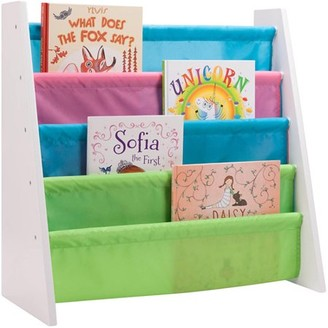 Honey-Can-Do Itsy-Bitsy Kids Book Rack with 4 Stacked Pockets, Multicolor