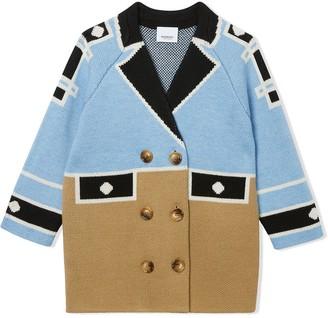 BURBERRY KIDS Trompe LOeil intarsia wool coat