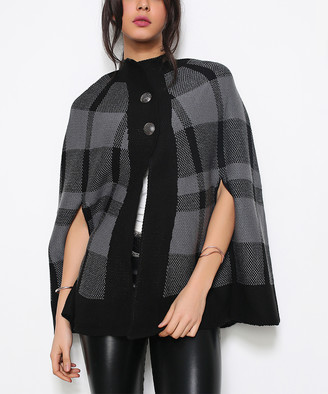 Red Queen Women's Ponchos SMOKED - Smoked Plaid Wool-Blend Poncho - Women