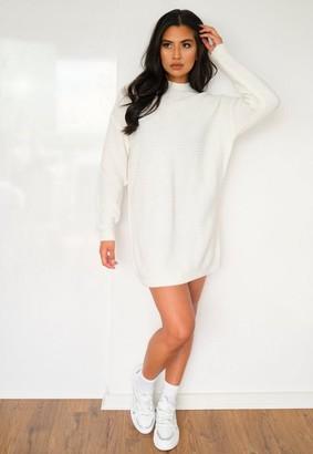Missguided Petite White Rib Knit High Neck Sweater Dress