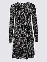 M&S Collection Spotted Long Sleeve Swing Midi Dress