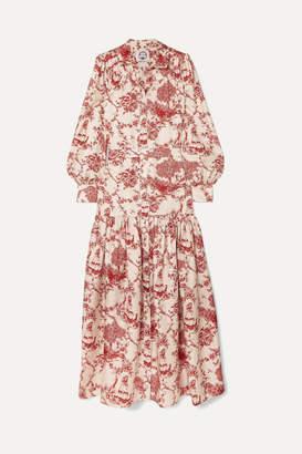 Evi Grintela Elsa Printed Silk-twill Maxi Dress - Red