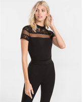 Express mock neck lace and mesh yoke tee