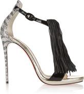 Christian Louboutin Casanovella 120 fringed glittered leather sandals